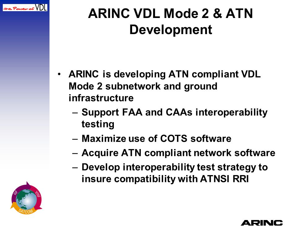 A ARINC VDL Mode 2 & ATN Development ARINC is developing ATN compliant VDL Mode 2 subnetwork and ground infrastructure –Support FAA and CAAs interoper