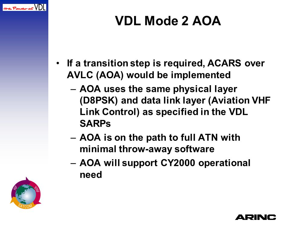 A VDL Mode 2 AOA If a transition step is required, ACARS over AVLC (AOA) would be implemented –AOA uses the same physical layer (D8PSK) and data link
