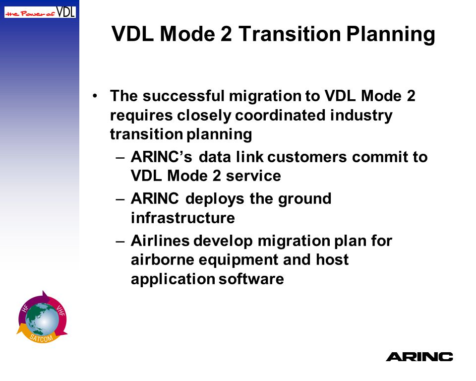 A VDL Mode 2 Transition Planning The successful migration to VDL Mode 2 requires closely coordinated industry transition planning –ARINC's data link c