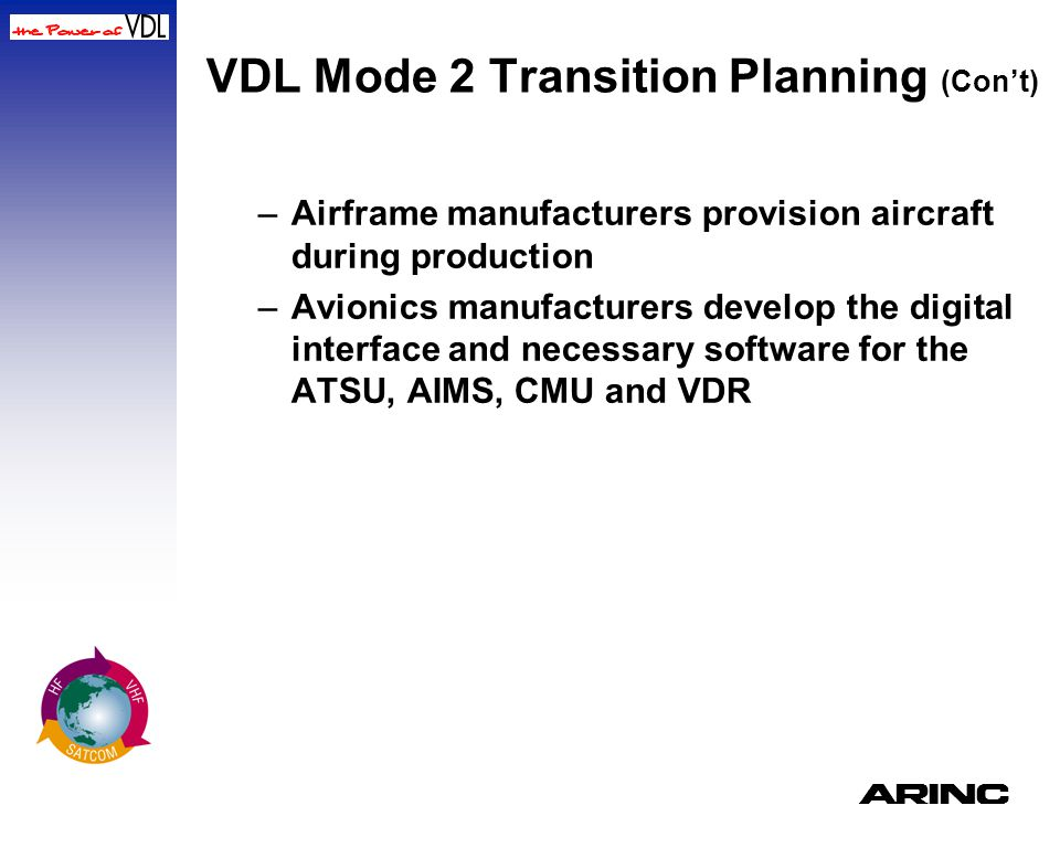 A VDL Mode 2 Transition Planning (Con't) –Airframe manufacturers provision aircraft during production –Avionics manufacturers develop the digital inte