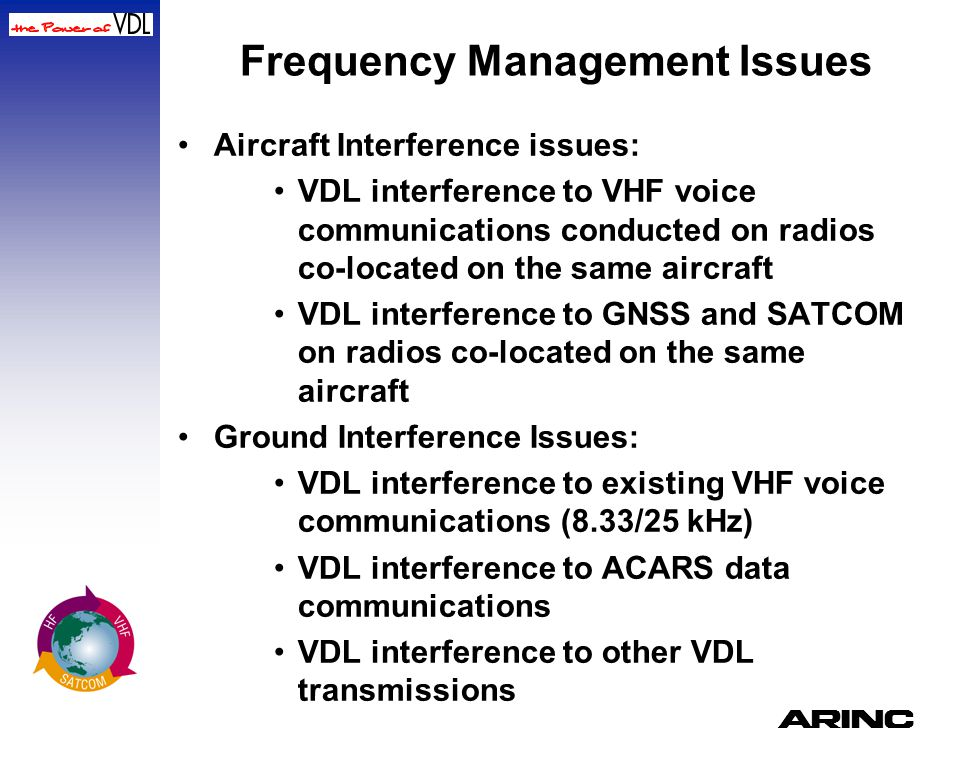 A Frequency Management Issues Aircraft Interference issues: VDL interference to VHF voice communications conducted on radios co-located on the same ai