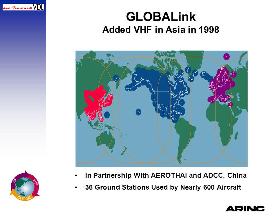 GLOBALink Added VHF in Asia in 1998 In Partnership With AEROTHAI and ADCC, China 36 Ground Stations Used by Nearly 600 Aircraft A