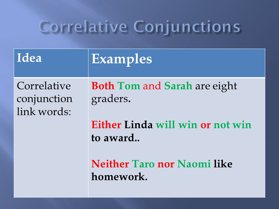 Idea Examples Correlative conjunction link words: Both Tom and Sarah are eight graders.