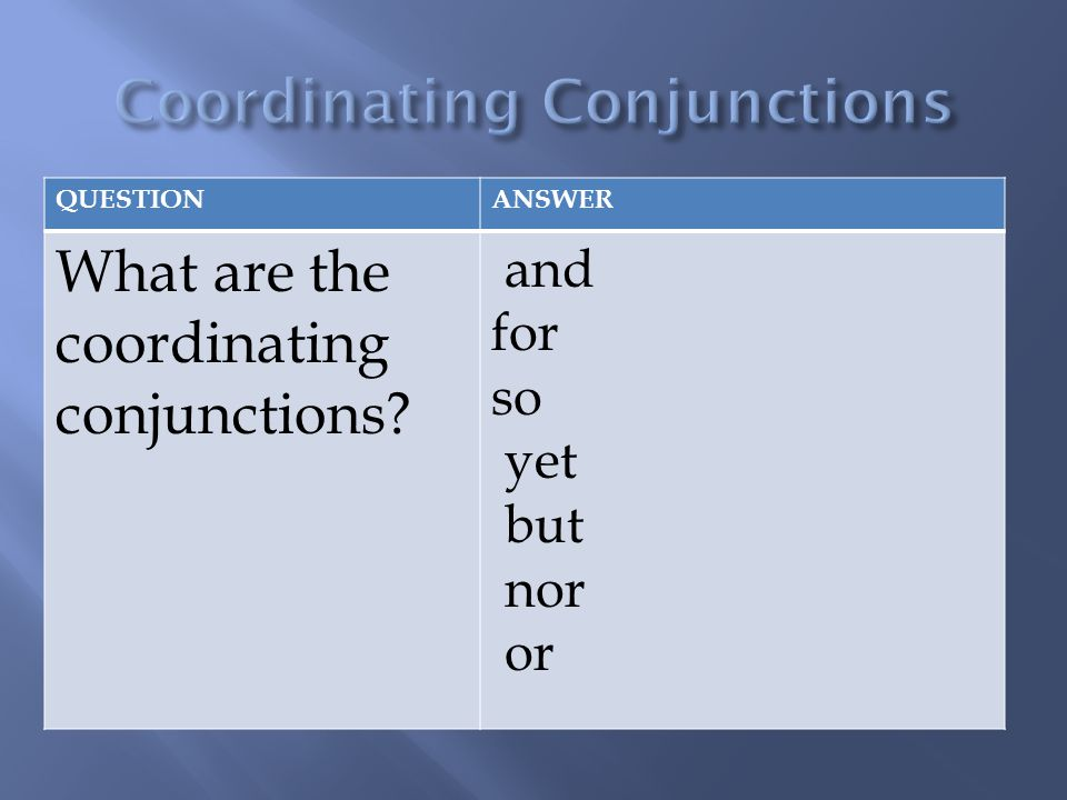 QUESTIONANSWER What are the coordinating conjunctions? and for so yet but nor or