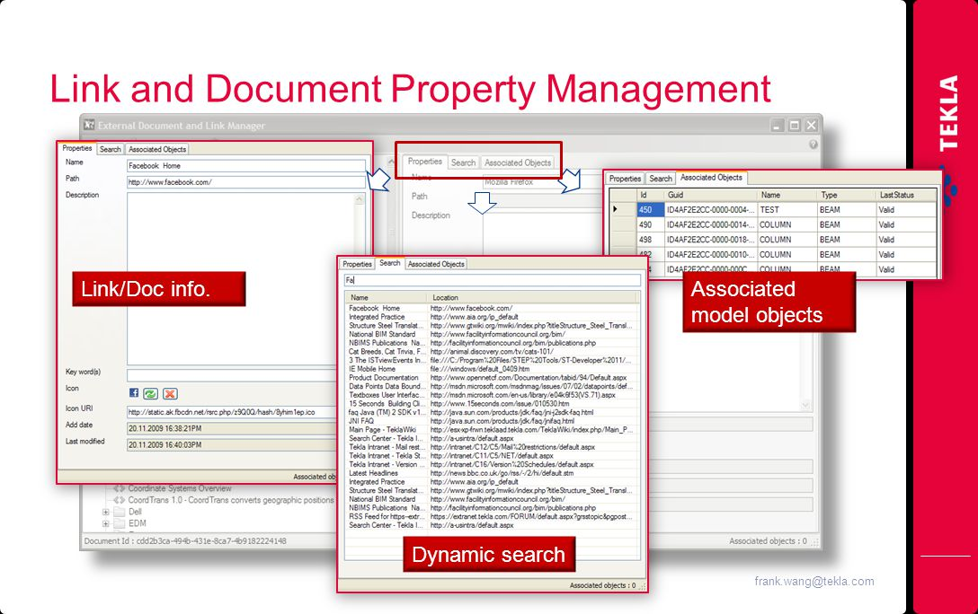 Link and Document Property Management Dynamic search Link/Doc info.Associated model objects