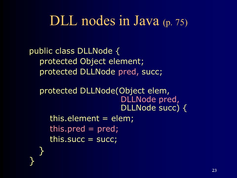 23 DLL nodes in Java (p.