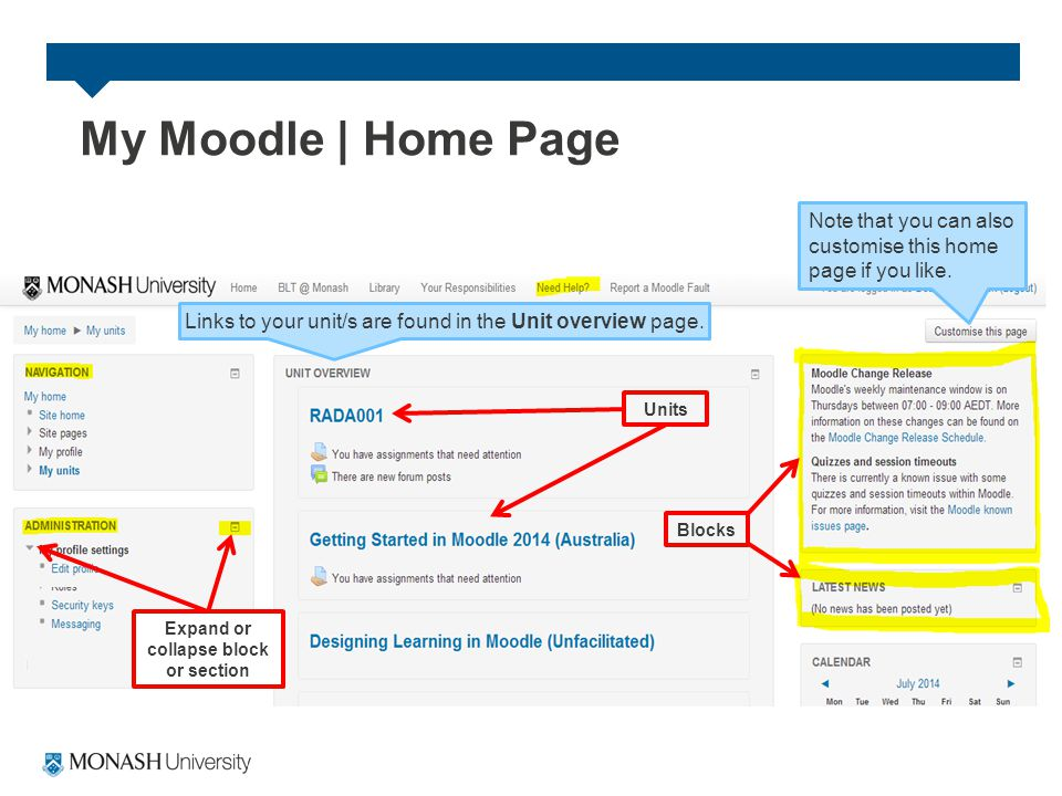 My Moodle | Home Page Units Blocks Expand or collapse block or section Links to your unit/s are found in the Unit overview page.