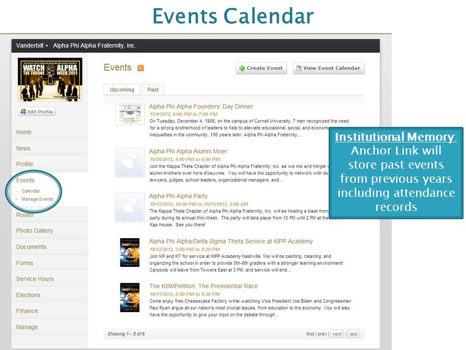 Events Calendar Institutional Memory: Anchor Link will store past events from previous years including attendance records