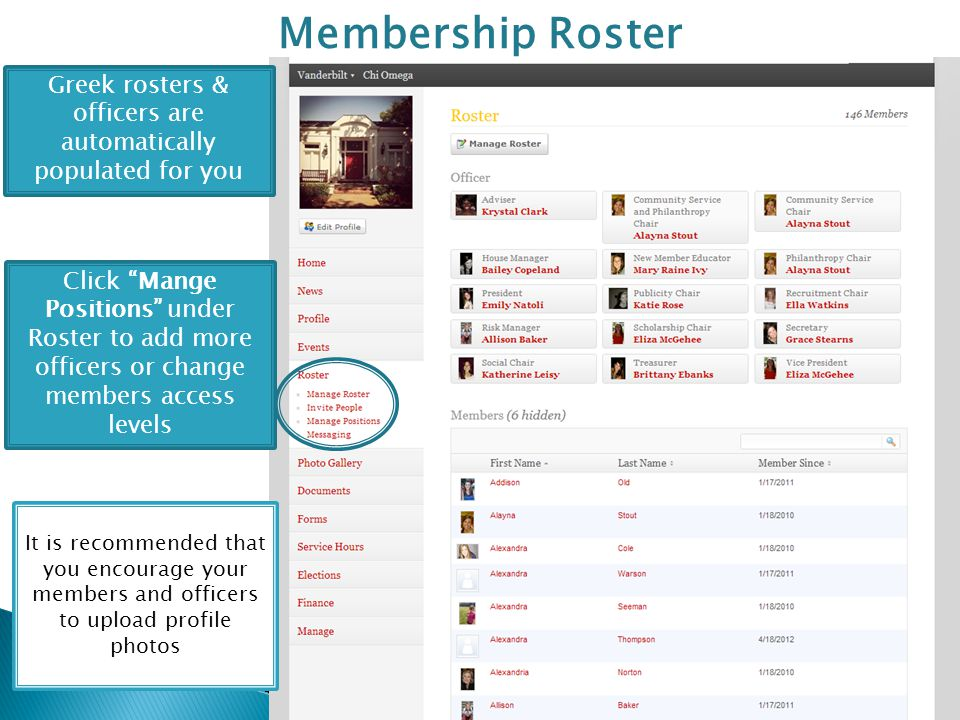 Membership Roster Greek rosters & officers are automatically populated for you It is recommended that you encourage your members and officers to upload profile photos Click Mange Positions under Roster to add more officers or change members access levels