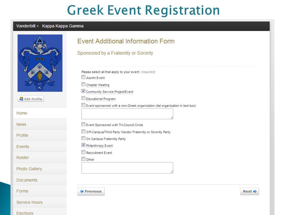 Greek Event Registration