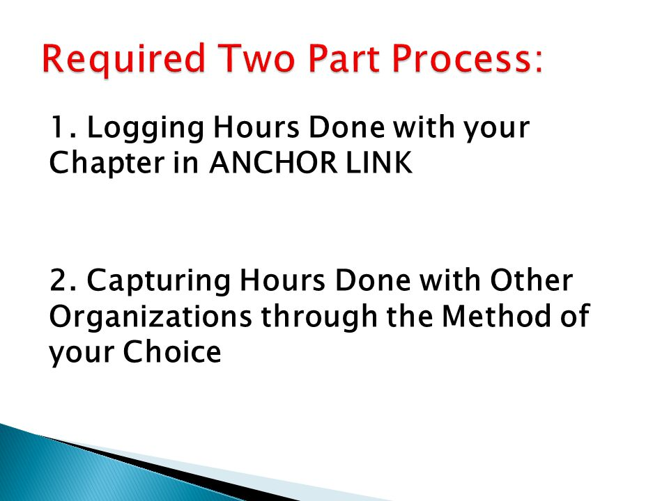 1. Logging Hours Done with your Chapter in ANCHOR LINK 2.