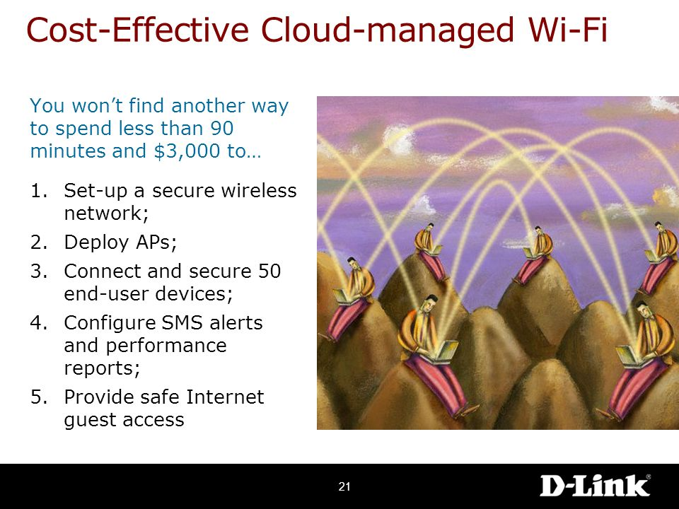 You won't find another way to spend less than 90 minutes and $3,000 to… 1.Set-up a secure wireless network; 2.Deploy APs; 3.Connect and secure 50 end-user devices; 4.Configure SMS alerts and performance reports; 5.Provide safe Internet guest access Cost-Effective Cloud-managed Wi-Fi 21