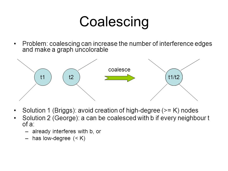 Coalescing Problem: coalescing can increase the number of interference edges and make a graph uncolorable Solution 1 (Briggs): avoid creation of high-degree (>= K) nodes Solution 2 (George): a can be coalesced with b if every neighbour t of a: –already interferes with b, or –has low-degree (< K) t1t2t1/t2 coalesce