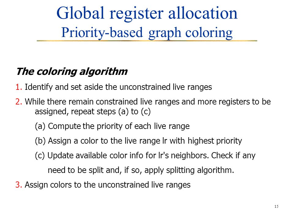 15 Global register allocation Priority-based graph coloring The coloring algorithm 1. Identify and set aside the unconstrained live ranges 2. While th