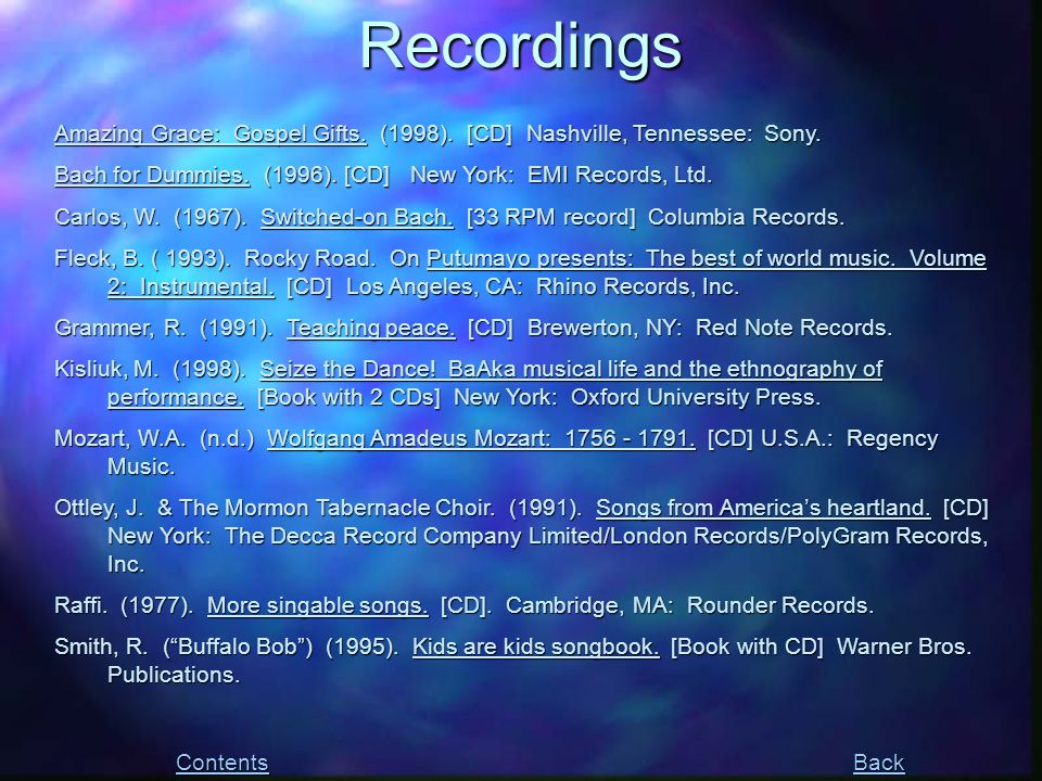 Recordings Contents Back Amazing Grace: Gospel Gifts.