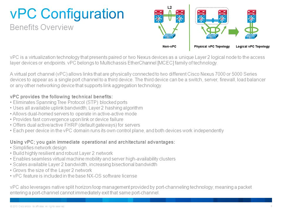 © 2013 Cisco and/or its affiliates. All rights reserved. 8 vPC is a virtualization technology that presents paired or two Nexus devices as a unique La