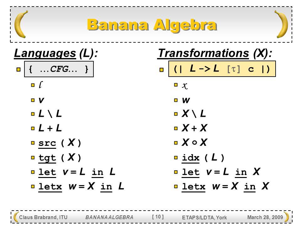 [ 10 ] Claus Brabrand, ITU BANANA ALGEBRA March 28, 2009 ETAPS/LDTA, York Banana Algebra Languages (L): l v L \ LL \ L L + LL + L src ( X ) tgt ( X ) let v = L in L letx w = X in L Transformations (X): x w X \ LX \ L X + XX + X X XX X idx ( L ) let v = L in X letx w = X in X (  L -> L [  ] c  ) {  CFG  }