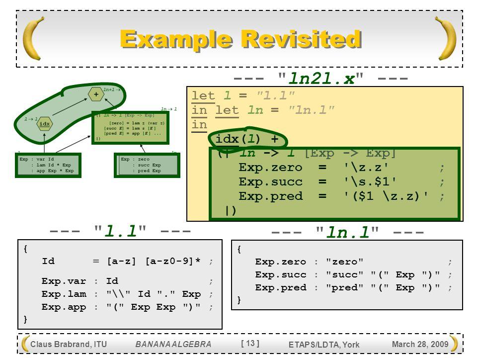 [ 13 ] Claus Brabrand, ITU BANANA ALGEBRA March 28, 2009 ETAPS/LDTA, York Example Revisited { Id = [a-z] [a-z0-9]* ; Exp.var : Id ; Exp.lam : \\ Id . Exp ; Exp.app : ( Exp Exp ) ; } { Exp.zero : zero ; Exp.succ : succ ( Exp ) ; Exp.pred : pred ( Exp ) ; } --- l.l --- --- ln.l --- let l = l.l in let ln = ln.l in idx(l) + (  ln -> l [Exp -> Exp] Exp.zero = \z.z ; Exp.succ = \s.$1 ; Exp.pred = ($1 \z.z) ;  ) --- ln2l.x ---