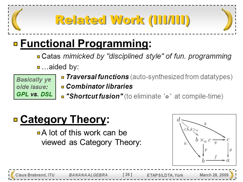 [ 26 ] Claus Brabrand, ITU BANANA ALGEBRA March 28, 2009 ETAPS/LDTA, York Related Work (III/III) Functional Programming: Catas mimicked by disciplined style of fun.