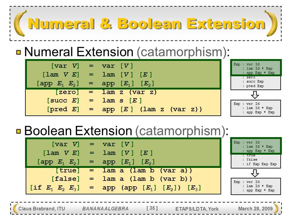 [ 35 ] Claus Brabrand, ITU BANANA ALGEBRA March 28, 2009 ETAPS/LDTA, York Numeral & Boolean Extension Numeral Extension (catamorphism): Boolean Extension (catamorphism): [var V] = var [V ] [lam V E] = lam [V ] [E ] [app E 1 E 2 ] = app [E 1 ] [E 2 ] [zero] = lam z (var z) [succ E] = lam s [E ] [pred E] = app [E ] (lam z (var z)) [var V] = var [V ] [lam V E] = lam [V ] [E ] [app E 1 E 2 ] = app [E 1 ] [E 2 ] [true] = lam a (lam b (var a)) [false] = lam a (lam b (var b)) [if E 1 E 2 E 3 ] = app (app [E 1 ] [E 2 ]) [E 3 ] Exp : var Id : lam Id * Exp : app Exp * Exp : zero : succ Exp : pred Exp Exp : var Id : lam Id * Exp : app Exp * Exp Exp : var Id : lam Id * Exp : app Exp * Exp : true : false : if Exp Exp Exp Exp : var Id : lam Id * Exp : app Exp * Exp