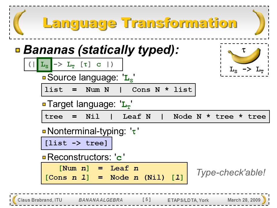 [ 6 ] Claus Brabrand, ITU BANANA ALGEBRA March 28, 2009 ETAPS/LDTA, York Banana properties: Simple (corresponds to: simple recursion ) Safe (syntactically safe + always terminate) Efficient (linear time in size of input + output) (Expressive) (…enough for interesting extensions) Banana Algebra for free (16 banana ops): Modular Incremental Simple Safe Efficient (Expressive) Statically reduce: Banana Algebra (term)  Banana (term)  Banana Properties The metafront System: Safe and Extensible Parsing and Transformation [ Claus Brabrand   Michael Schwartzbach ] ( LDTA 2003, SCP J.
