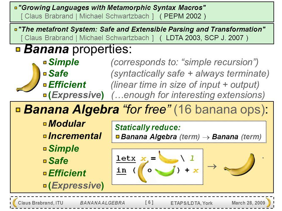 [ 37 ] Claus Brabrand, ITU BANANA ALGEBRA March 28, 2009 ETAPS/LDTA, York Incremental Development let l = l.l in idx(l) + (  ln.l -> l [Exp -> Exp] Exp.zero : \z.z ; Exp.succ : \x.$1 ; Exp.pred : ($1 \z.z) ;  ) let l = l.l in idx(l) + (  li.l -> l [Exp -> Exp] Exp.id : \z.z ;  ) { Exp.zero : zero ; Exp.succ : succ Exp ; Exp.pred : pred Exp ; } { Id = [a-z] [a-z0-9]* ; Exp.var : Id ; Exp.lam : \\ Id . Exp ; Exp.app : ( Exp Exp ) ; } --- ln.l --- --- ln2li.x --- --- l.l --- --- ln2l.x --- let l = l.l in idx(l) + (  ln -> l+ li.l [Exp -> Exp] Exp.zero : id ; Exp.succ : \x.$1 ; Exp.pred : ($1 id) ;  ) { Exp.id : id ; } --- li.l --- --- li2l.x --- li2l.x o ln2li.x --- ln2l.x ---