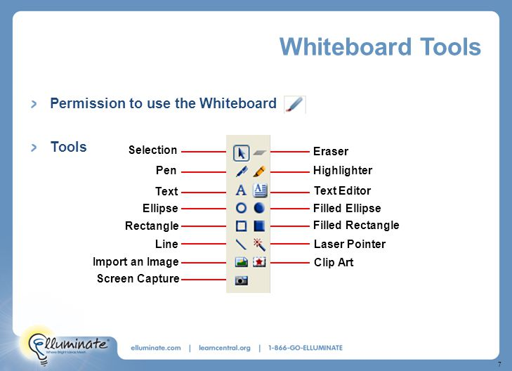 7 Whiteboard Tools Permission to use the Whiteboard Tools Laser Pointer Clip Art Filled Rectangle Filled Ellipse Eraser Highlighter Text Editor Selection Pen Text Ellipse Rectangle Line Import an Image Screen Capture