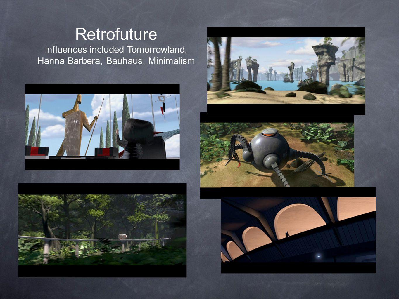 Retrofuture influences included Tomorrowland, Hanna Barbera, Bauhaus, Minimalism