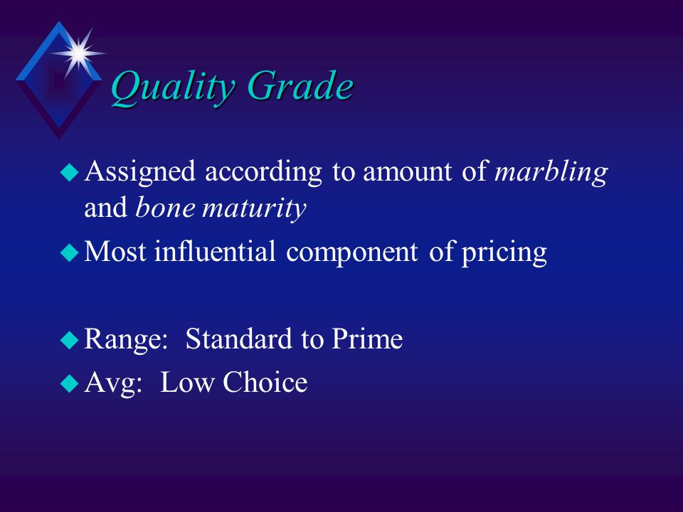 Quality Grade u Assigned according to amount of marbling and bone maturity u Most influential component of pricing u Range: Standard to Prime u Avg: Low Choice