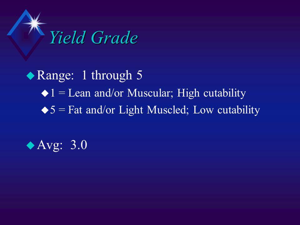 Yield Grade u Range: 1 through 5 u 1 = Lean and/or Muscular; High cutability u 5 = Fat and/or Light Muscled; Low cutability u Avg: 3.0
