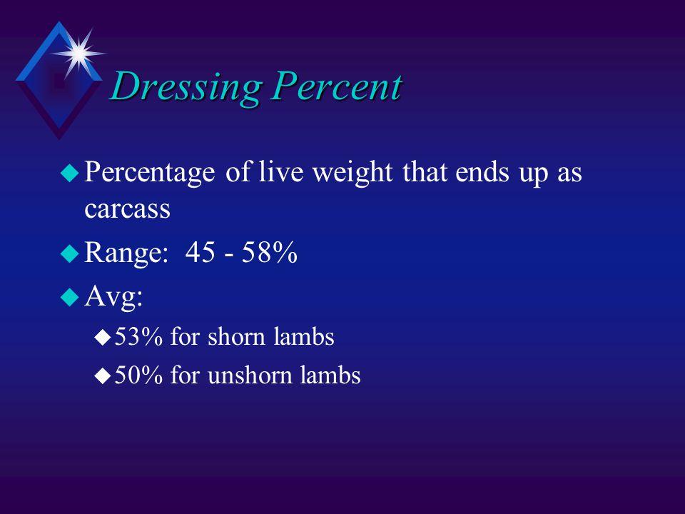 Dressing Percent u Percentage of live weight that ends up as carcass u Range: 45 - 58% u Avg: u 53% for shorn lambs u 50% for unshorn lambs