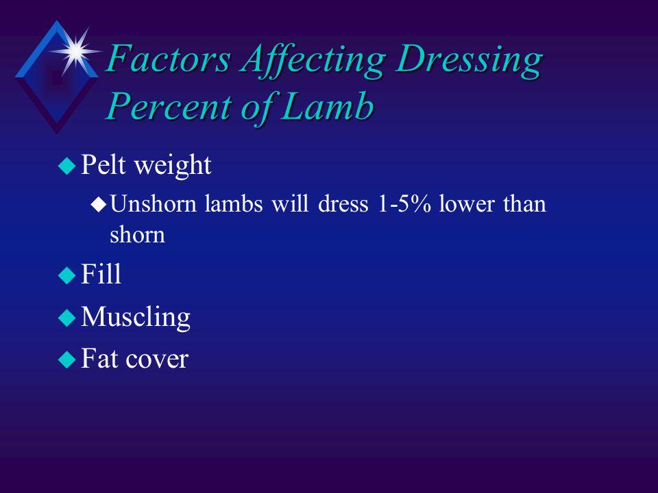 Factors Affecting Dressing Percent of Lamb u Pelt weight u Unshorn lambs will dress 1-5% lower than shorn u Fill u Muscling u Fat cover