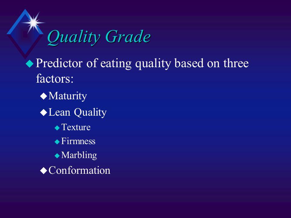 Quality Grade u Predictor of eating quality based on three factors: u Maturity u Lean Quality u Texture u Firmness u Marbling u Conformation
