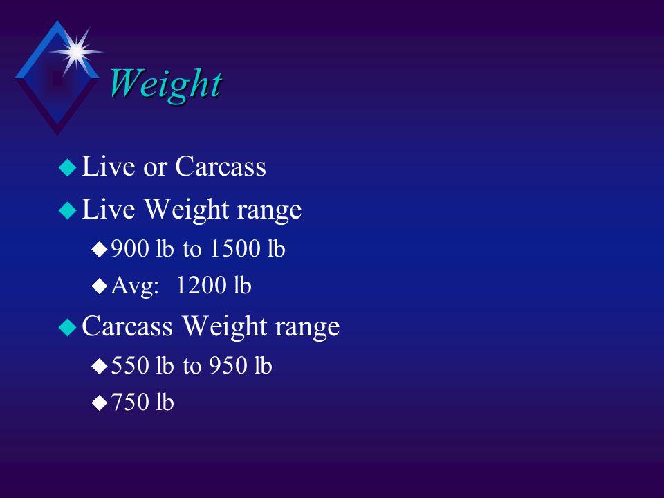 Weight u Live or Carcass u Live Weight range u 900 lb to 1500 lb u Avg: 1200 lb u Carcass Weight range u 550 lb to 950 lb u 750 lb