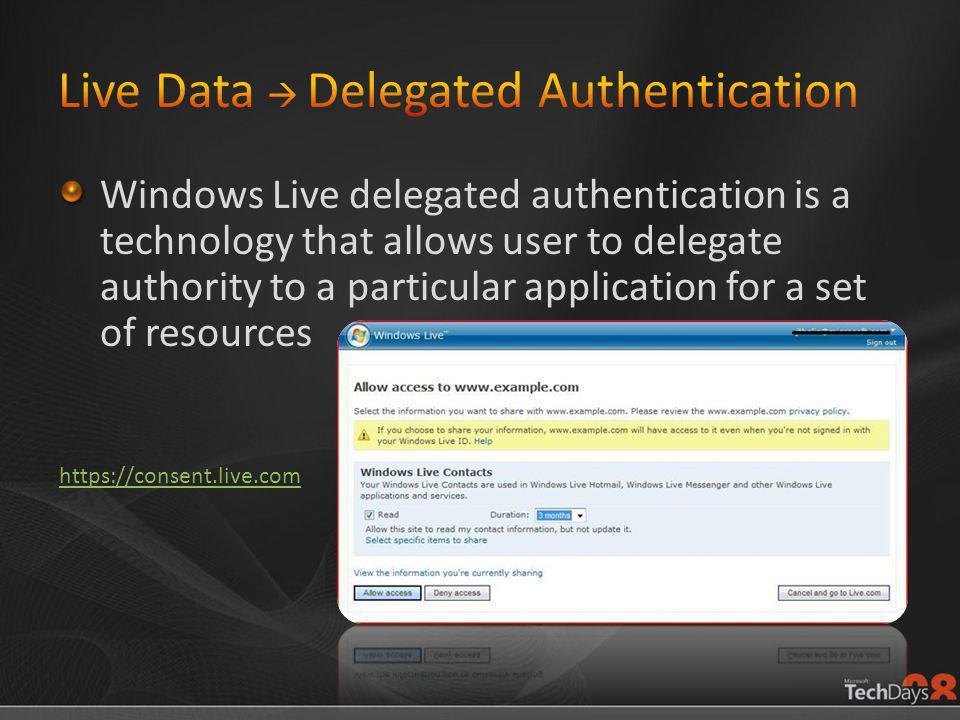Windows Live delegated authentication is a technology that allows user to delegate authority to a particular application for a set of resources