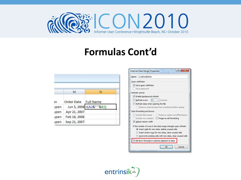 Formulas Cont'd