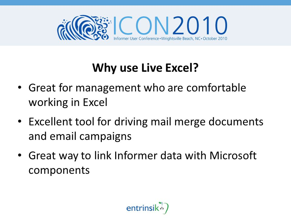 Why use Live Excel.