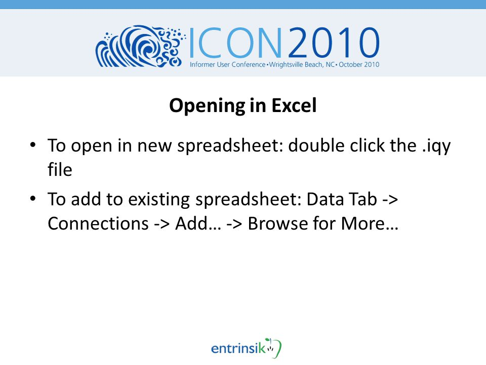 Refreshing Web Query Data Data -> Refresh [All] Properties – Refresh every n minutes – Refresh on opening New report columns will appear in Live Excel output