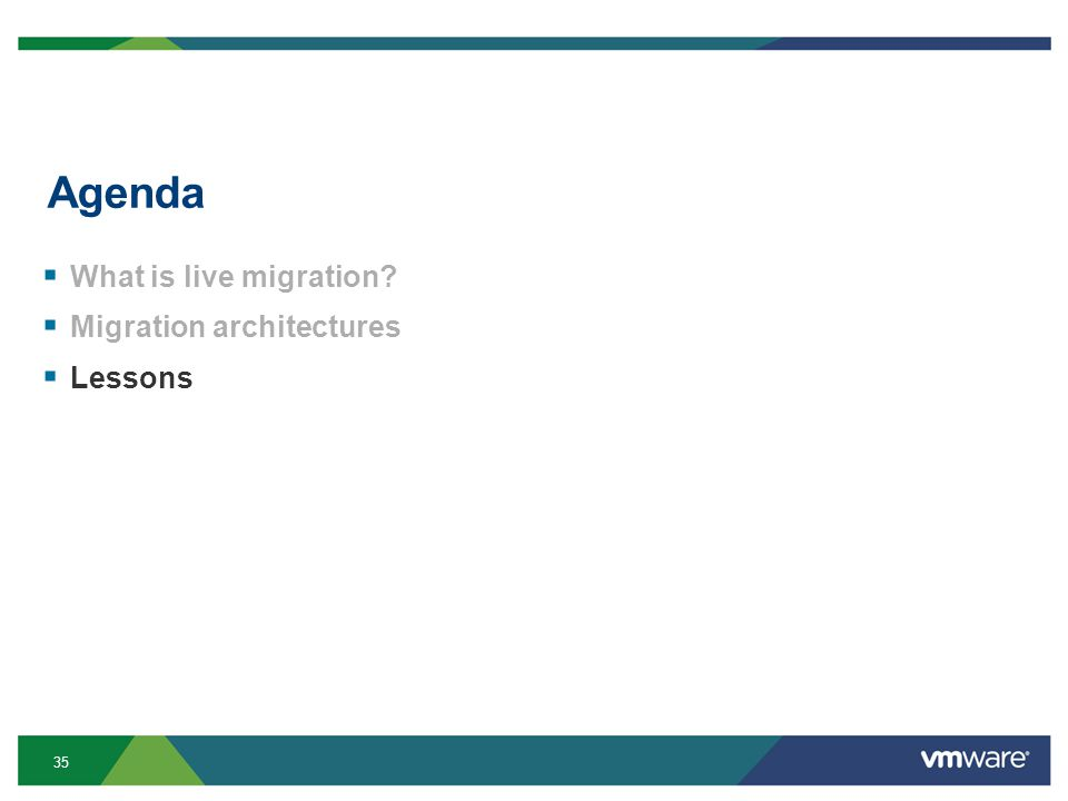 35 Agenda  What is live migration  Migration architectures  Lessons