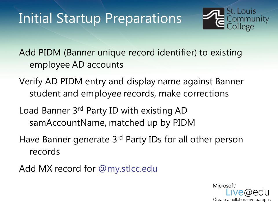 Create a collaborative campus Initial Startup Preparations Add PIDM (Banner unique record identifier) to existing employee AD accounts Verify AD PIDM