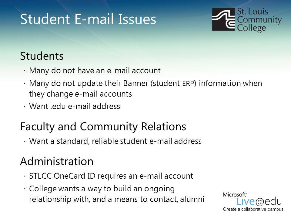 Create a collaborative campus Student E-mail Issues Students · Many do not have an e-mail account · Many do not update their Banner (student ERP ) inf