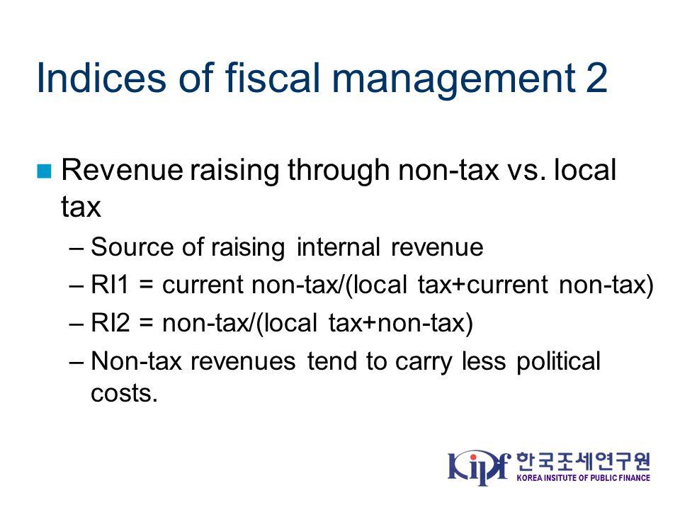 Indices of fiscal management 2 Revenue raising through non-tax vs.
