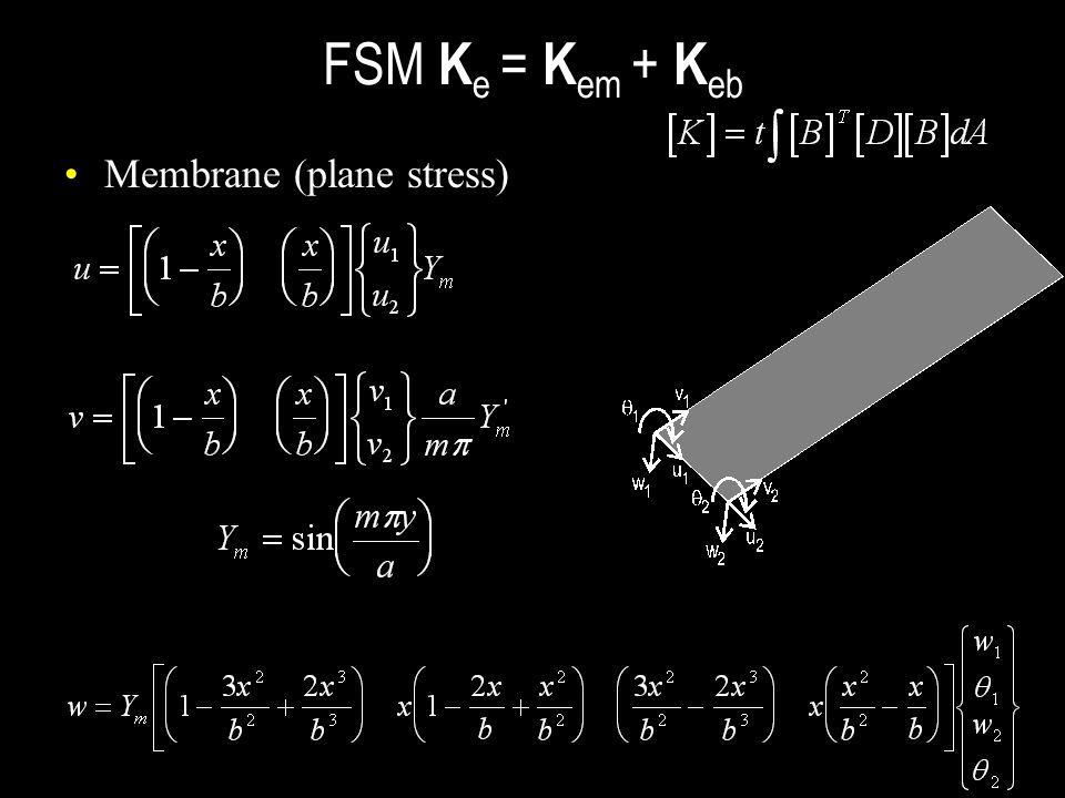 FSM K e = K em + K eb Membrane (plane stress)