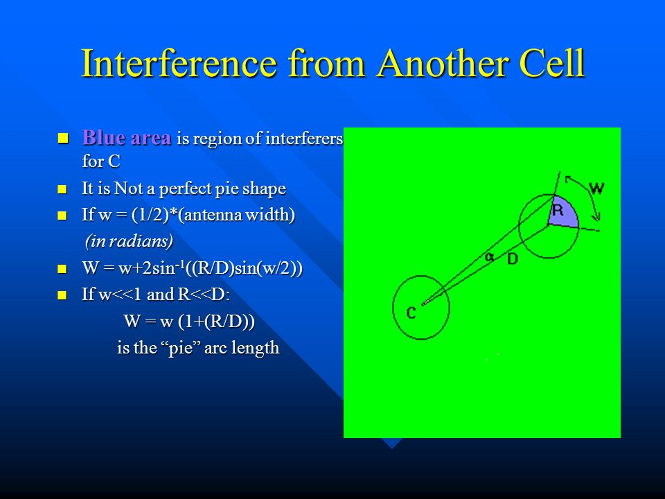 Interference from Another Cell Blue area is region of interferers for C Blue area is region of interferers for C It is Not a perfect pie shape It is N