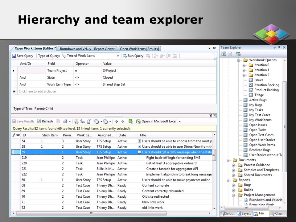 Hierarchy and team explorer