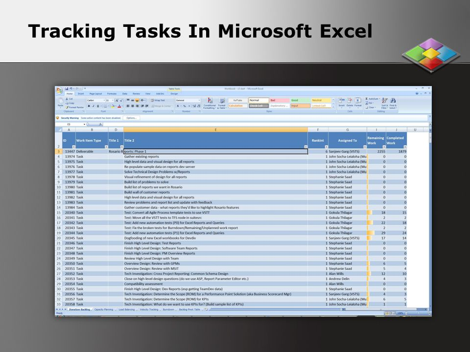 Tracking Tasks In Microsoft Excel