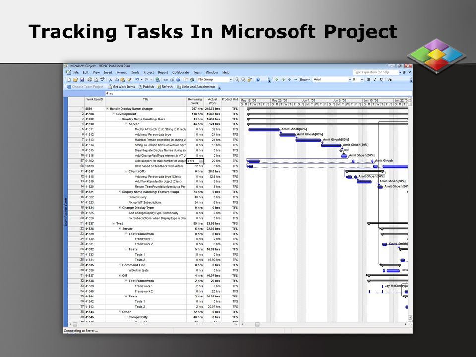 Tracking Tasks In Microsoft Project