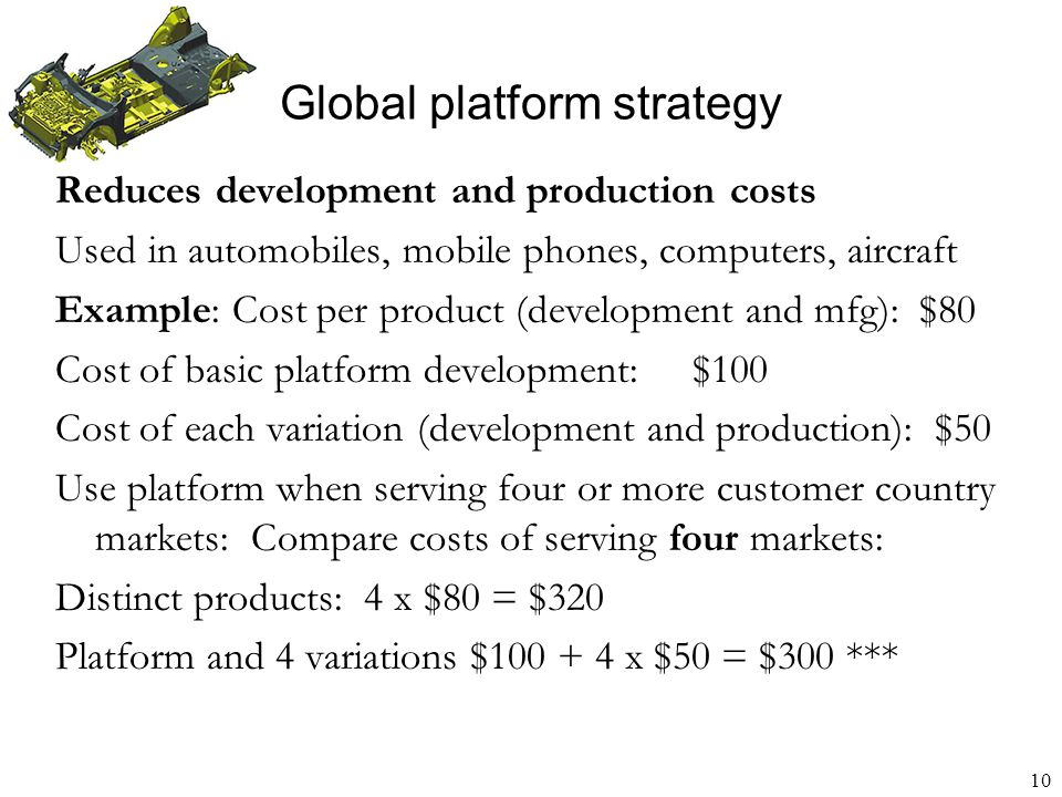 11 Business sells 10 units each in Country A and in Country F Unit costs – economies of scale Two local products at 10 units each $ 30/unit Global product at 20 units$ 20/unit Price company can charge per unit: Global product: $80/unit in each country Two local products: $95/unit in each country Global versus regional product: Tailoring brings $ 5 more earnings per unit Profit greater by $ 100 Improve tradeoff with platforms and flexible factories to realize economies of scope (mass customization) Global platform strategy Product variety versus economies of scale