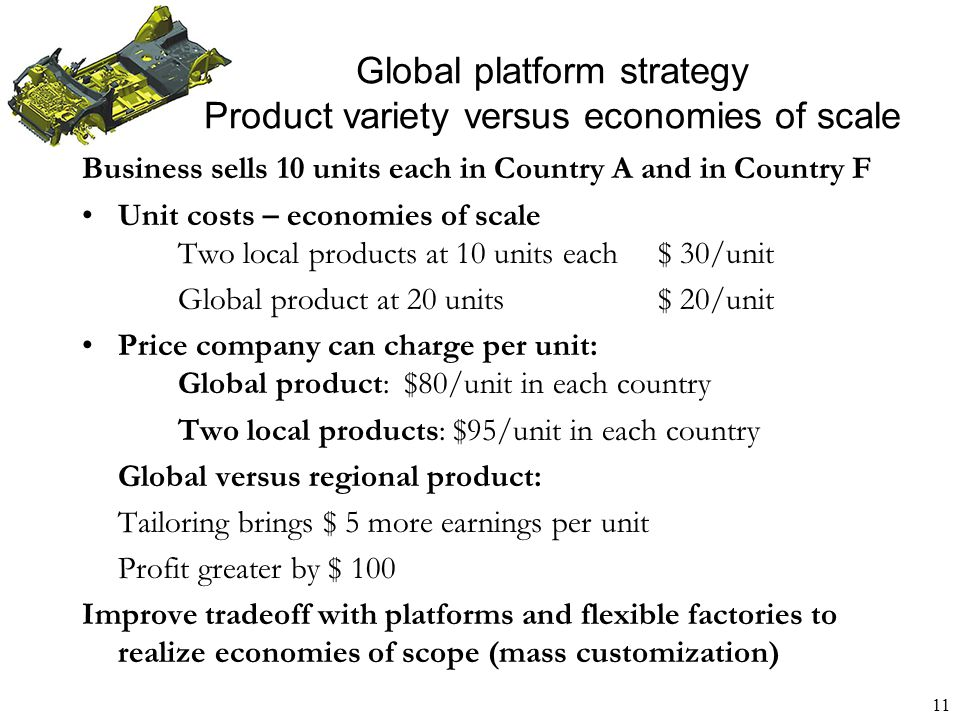 12 Global platform strategy International business managers make decisions about what should be global versus local: Products Technology and inputs Manufacturing Brands Marketing Distribution Example: Wal-Mart must compete with both international players such as Carrefour and local retailers