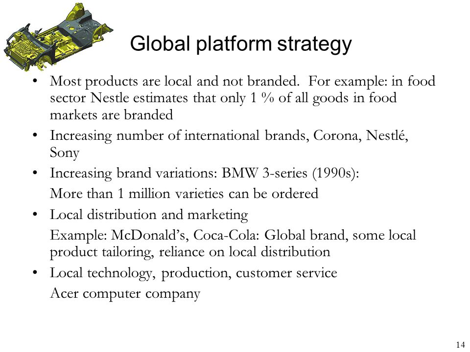 15 Global network strategy Create network of customers, suppliers, partners Use network to achieve global size and reach Use network to provide local customization Network relationships generate competitive advantage